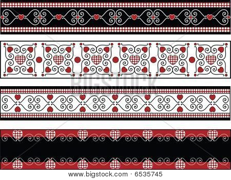 Four Valentine Vector Borders With Gingham Trims