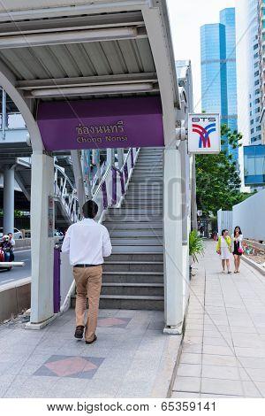 Man Enter Into Skytrain Bts Station