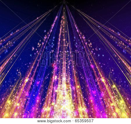 Abstract laser beams with glare sparks and stars blazed in the darkness as light. abstraction-based