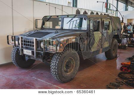 Humvee Vehicle At Militalia In Milan, Italy