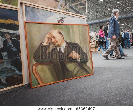 Lenin Painting On Display At Militalia In Milan, Italy