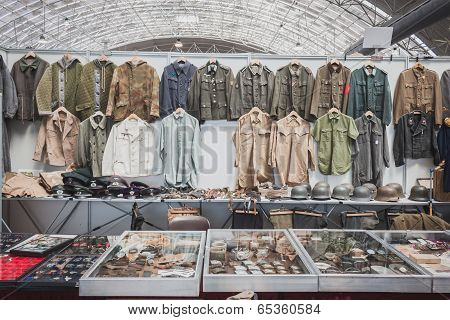 Stand With Uniforms At Militalia In Milan, Italy