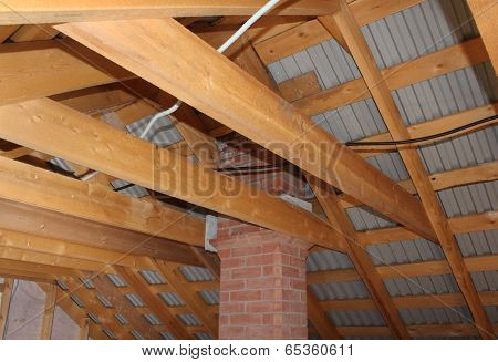 Attic With Brick Chimney Under Construction