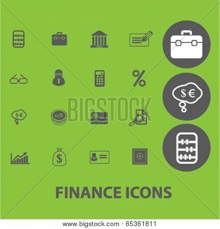 finance signs: money, bank, investment, credit icons set, vector