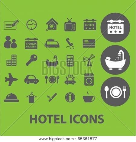 hotel signs: motel, room service, travel icons set, vector