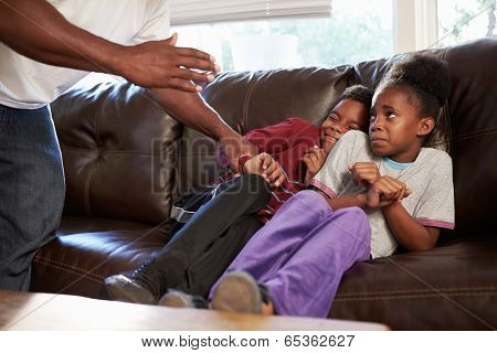 Father Being Physically Abusive Towards Children At Home
