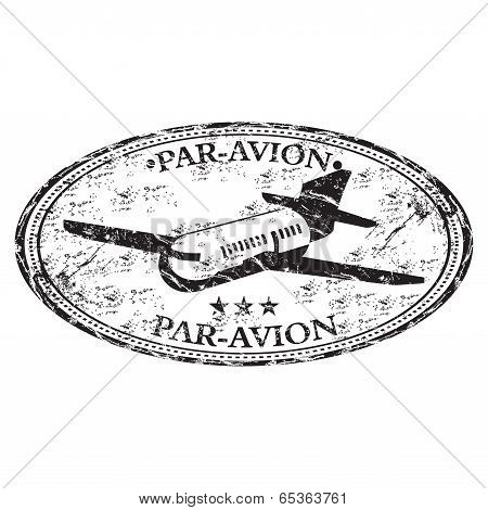 Par avion grunge rubber stamp