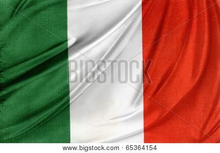 Closeup of silky Italian flag
