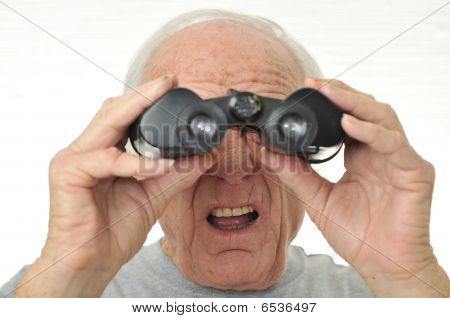 Man With Binoculars Is Confused With Results