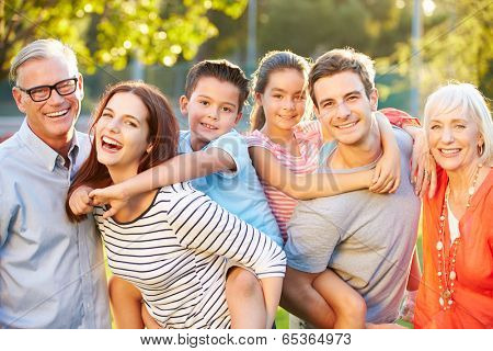 Outdoor Portrait Of Multi-Generation Family In Park