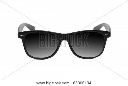 Black sunglasses close up.