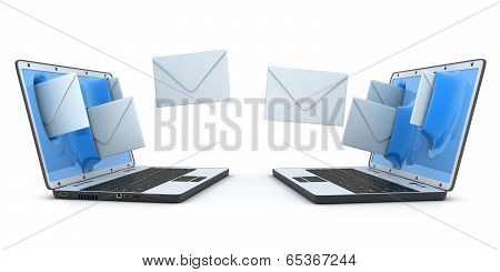 Laptops And Flying Envelopes