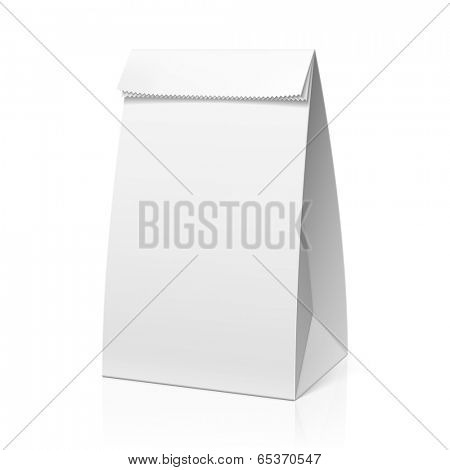 Recycle white paper bag. Vector.