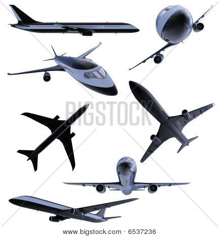 Collage Of Isolated Black Airplane