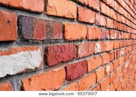 Colorful Brick Wall On Angle