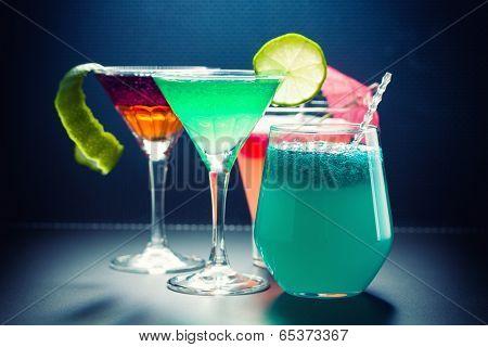 Molecular mixology - Four Cocktail with  caviar