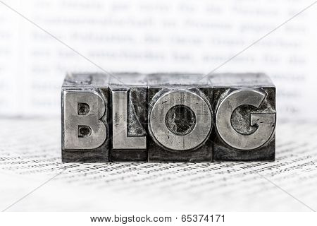 the word blog with lead letters written. symbolic photo for blog