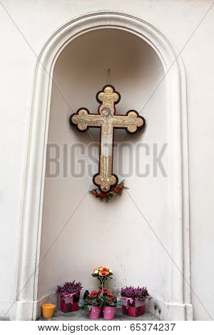 Cross On The Wall Of Church Of Saints Cyril And Methodius