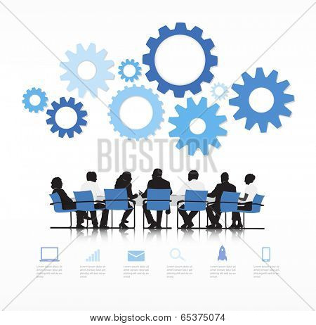 Silhouettes of Business People Meeting and Gear Above