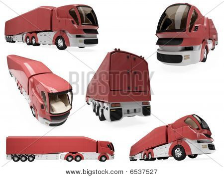 Collage Of Isolated Concept Truck