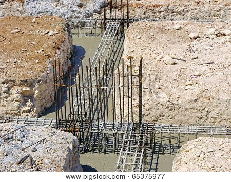 foundation beams of a reinforced concrete building