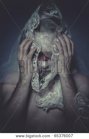 Physical, man with lace veil and bandages, wound concept, pain and suffering