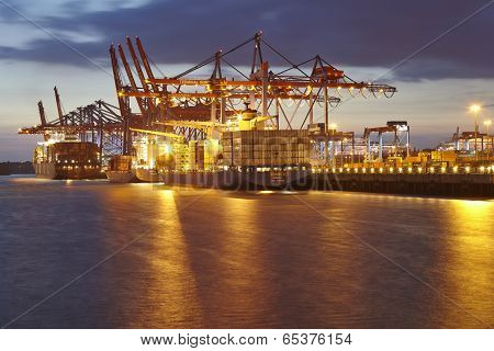 Hamburg - Container Terminal In The Evening