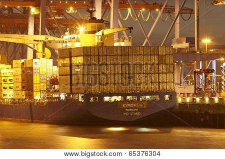 Hamburg - Container Vessel At Terminal (night)