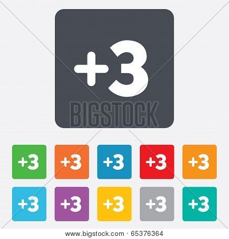 Plus three sign. Add three symbol.