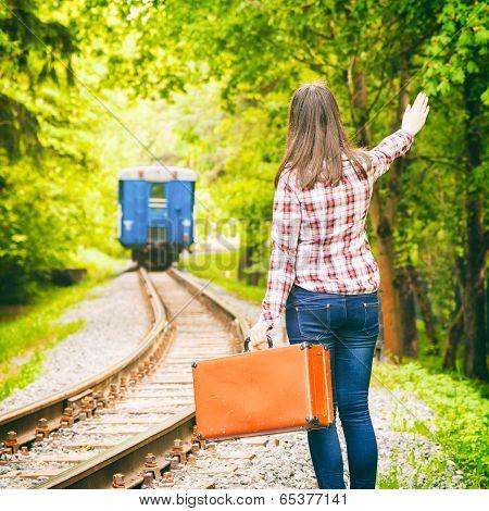Departing Train, Young Woman Waving His Hand