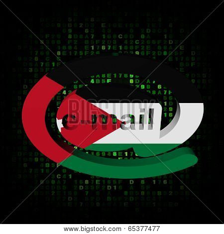 e-mail address AT symbol with Jordanian flag on hex illustration