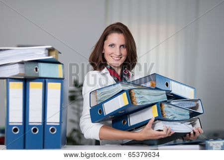 Woman Carries Files