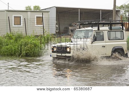 Land Rover In Flood