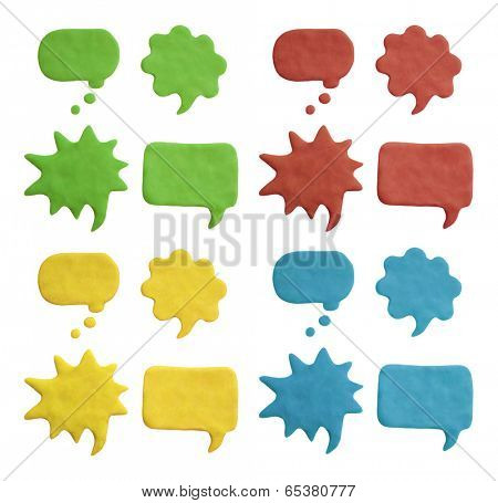 Plasticine speech bubbles. Isolated on white