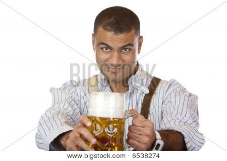 Sexy Attractive Man With Lederhose Holds Oktoberfest Beer Stein