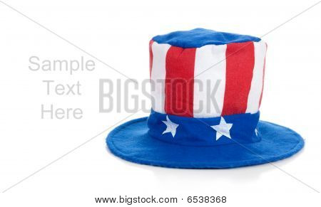 Uncle Sam Hat On White With Copy Space