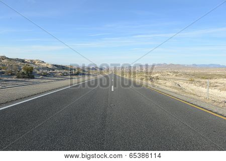 Driving on Remote Road in the Desert, Southwestern USA