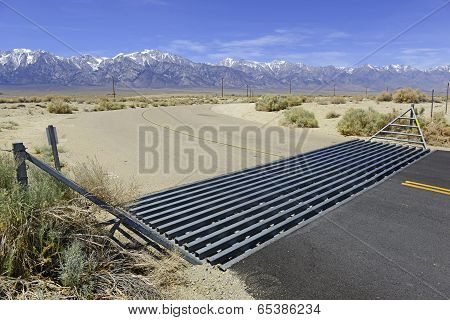 Cattle Guard on Road near Ranch in the Western USA