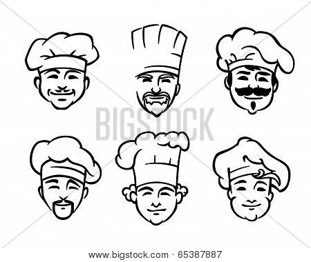 Set of six chef or cooks heads