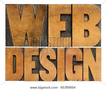 web design  - isolated words in vintage letterpress wood type printing blocks - top view