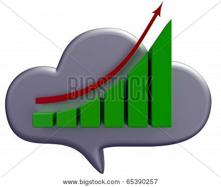 Business cloud and chart icon