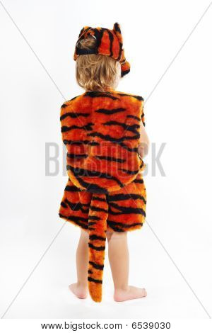 The child in suit of tiger