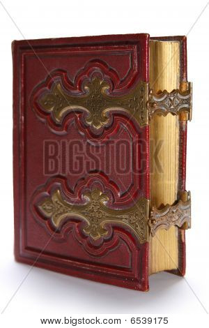 Old Dark Red Antique Book, With Golden Clasp And Pages