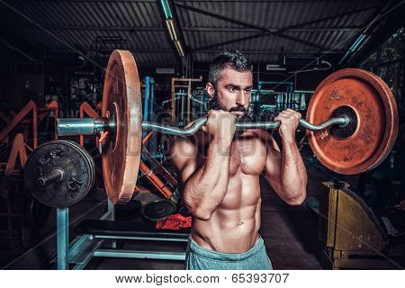 bodybuilder in training room