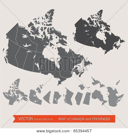 Vector detailed map of canada and provinces