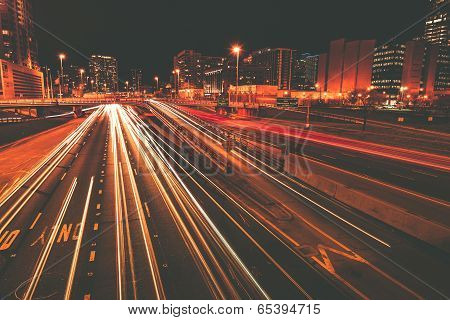 Traffic In Motion At Night