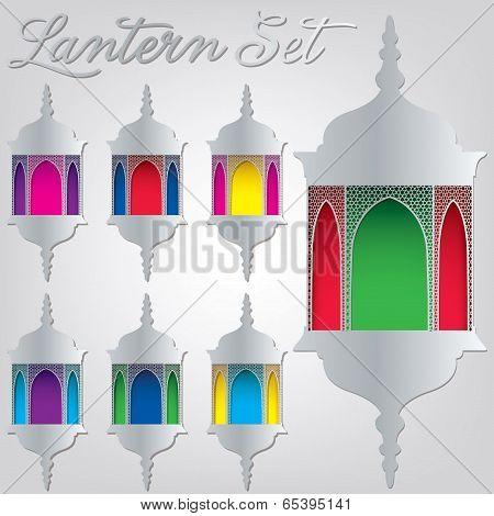 Arabesque Lantern Set In Vector Format.