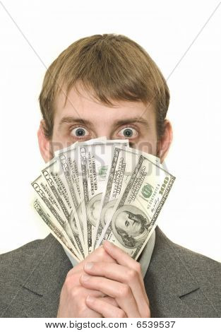 Surprised Or Amazed Businessman With Hundreds Of Dollars