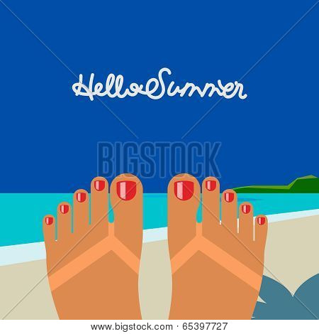 Hello summer, self shoot female feet tanned on the beach selfie
