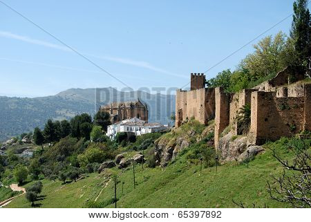 Town wall and church, Ronda, Spain.